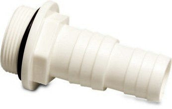 Swimming Pool Plain or Threaded Hosetail 1.5 Inch To 1.25 inch Tail White PVC - H2oFun.co.uk