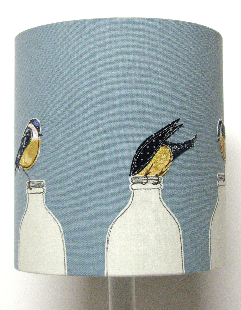 "Lampshade - ""Breakfast"" - Blue tits perched on milk bottles"
