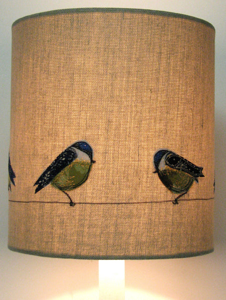 Lampshade - Blue tits perched on a wire.