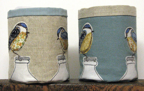 Fabric pot - Blue tit bird