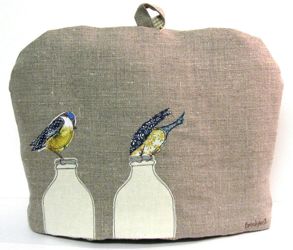 "Tea Cosy - ""Breakfast"" Blue tits on milk bottles"