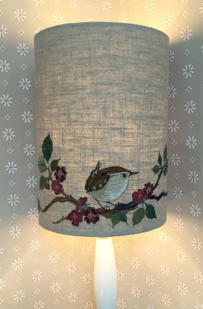 Lampshade - Wren On Blossom (small)