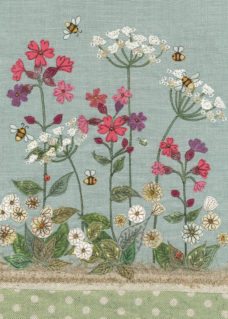 Greeting card - Red Campion and Bees