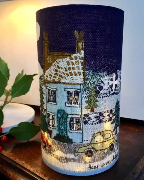 """Will It Fit?"" Christmas House Lantern with hand cut windows."