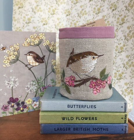Fabric Pot - Wren bird design