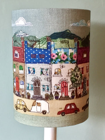 Lampshade - 'A Place Like Home' - Happy houses lampshade with illuminating window detail.