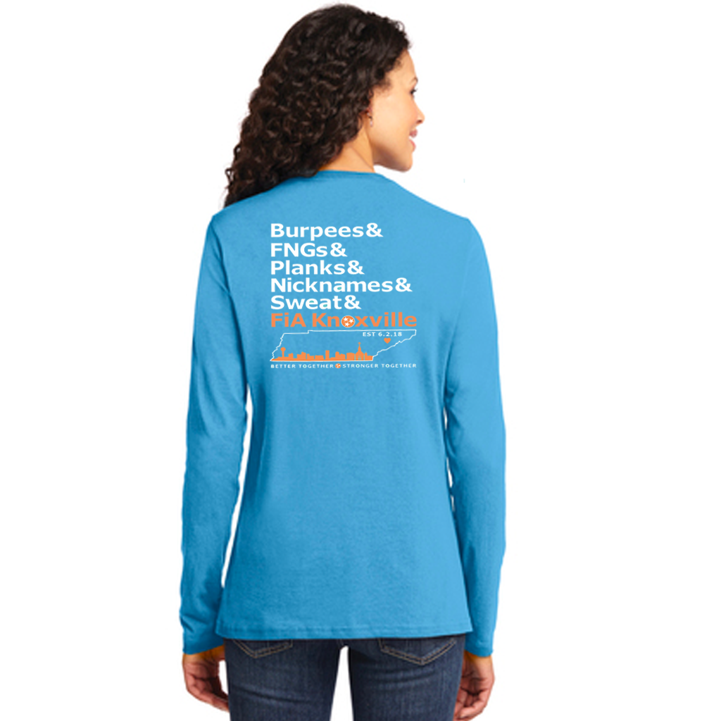 FiA Knoxville Word: Port & Company Ladies Long Sleeve Core Cotton Tee Pre-Order