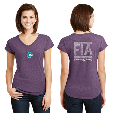 FiA Ribbon - Never Alone 2018: Anvil Women's TriBlend V-Neck Tee Pre-Order