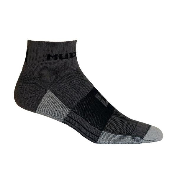 MudGear Trail Socks 1/4 Crew - Gray/Black (2 pair pack)