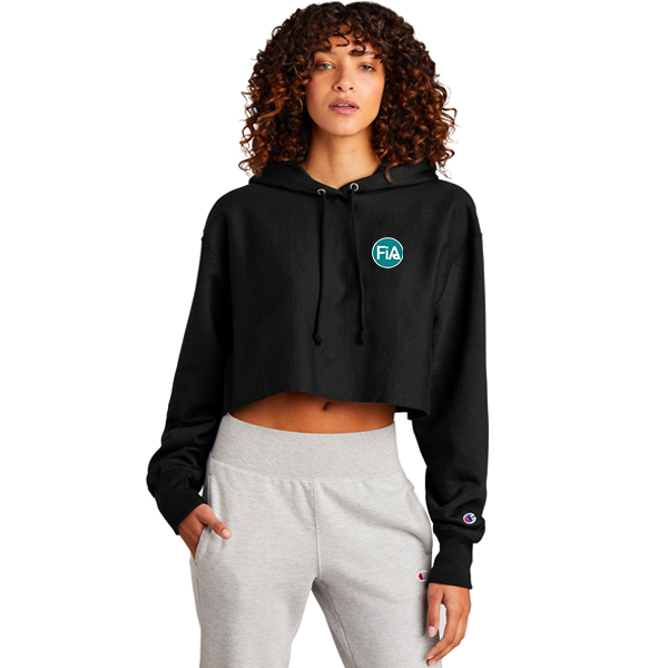 FiA Champion Women's Reverse Weave Cropped Cut-Off Hooded Sweatshirt - Made to Order