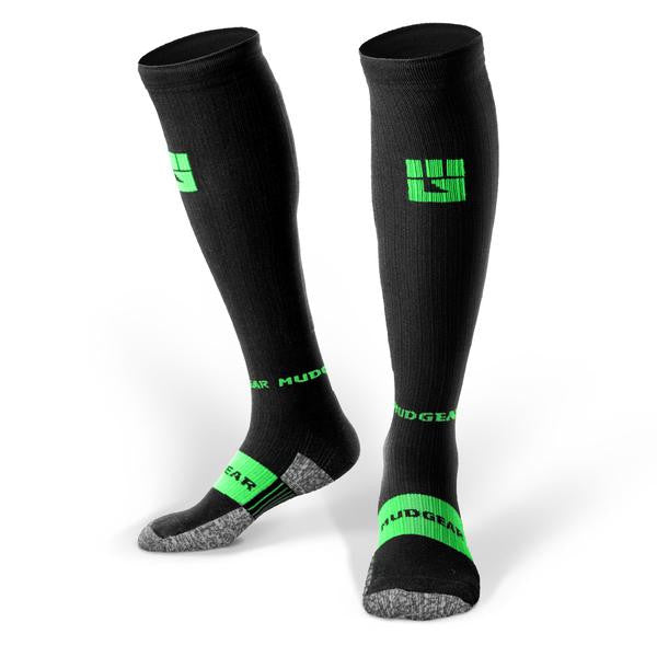 MudGear Compression Obstacle Race Socks (Black/Green)