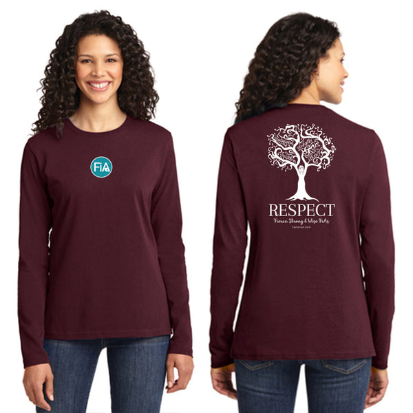 FiA Respect Port & Company Ladies Long Sleeve Cotton Tee Pre-Order