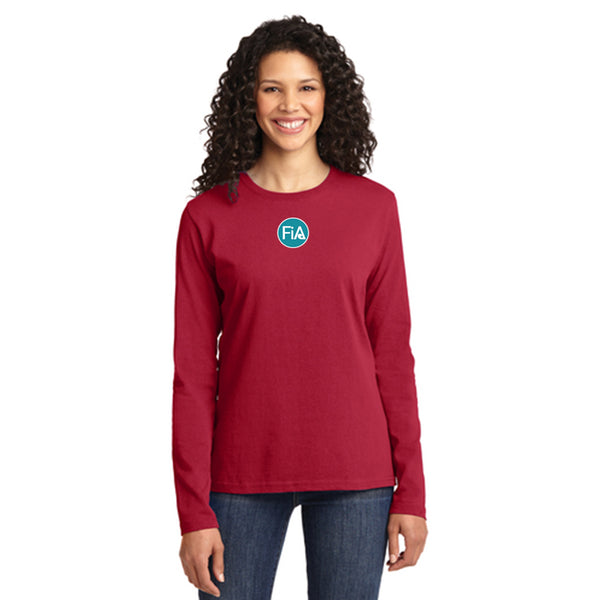FiA Goose Creek Port & Company Ladies Long Sleeve Cotton Tee Pre-Order