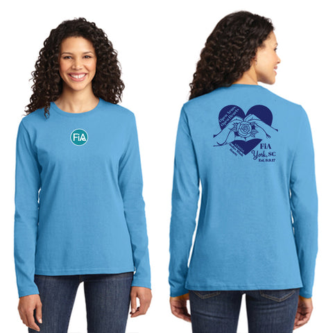 FiA SC York Port & Company Ladies Long Sleeve Cotton Tee Pre-Order