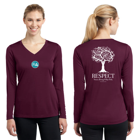 FiA Respect Sport-Tek Ladies Long Sleeve Competitor V-Neck Tee Pre-Order