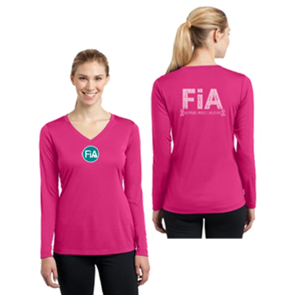 FiA Pink Ribbon Sport-Tek Ladies Long Sleeve Competitor V-Neck Tee Pre-Order