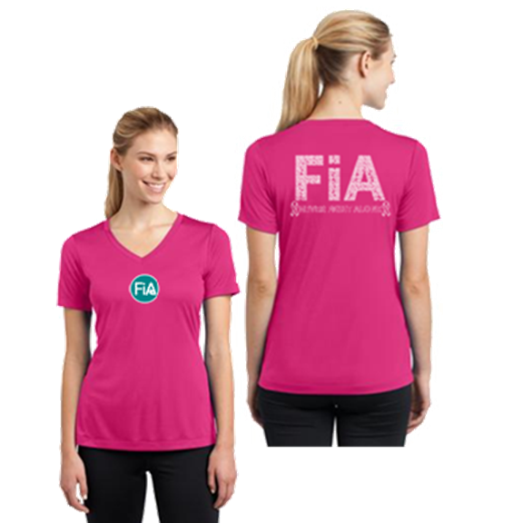 FiA Pink Ribbon Sport-Tek Women's Short Sleeve V-Neck Tee Pre-Order