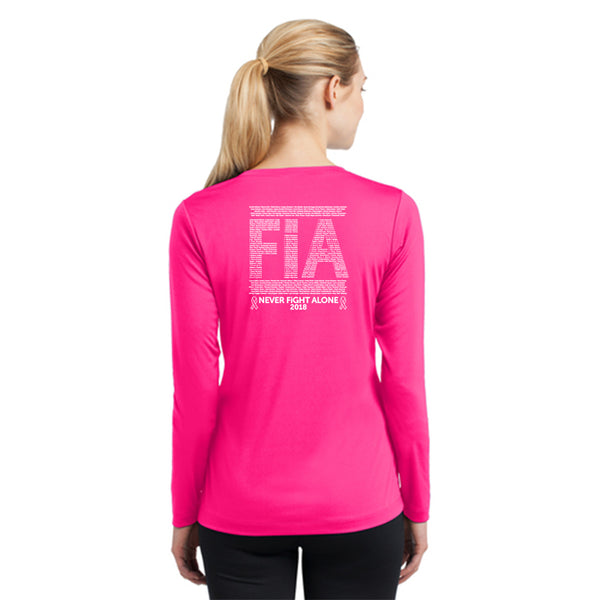 FiA Ribbon - Never Alone 2018: Sport-Tek Ladies Long Sleeve Competitor V-Neck Tee Pre-Order