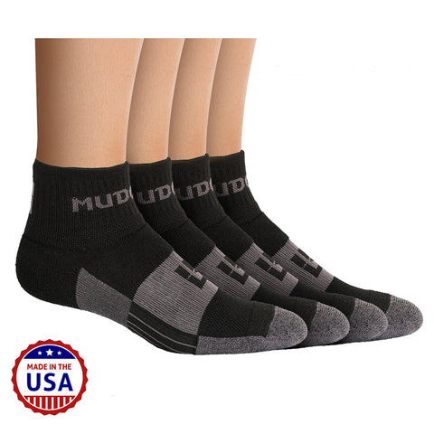 MudGear Trail Socks 1/4 Crew - Black/Gray (2 pair pack)