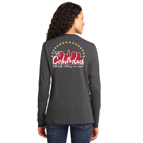 FiA Columbus Port & Company Ladies Long Sleeve Cotton Tee Pre-Order