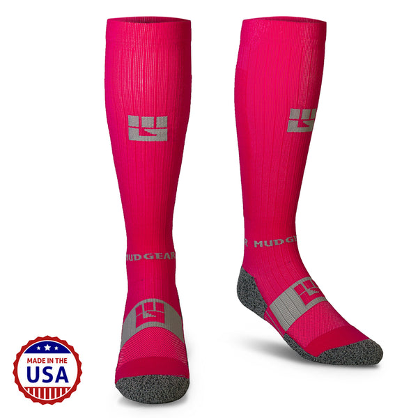 MudGear Compression Obstacle Race Socks (Ruby Pink/Gray)