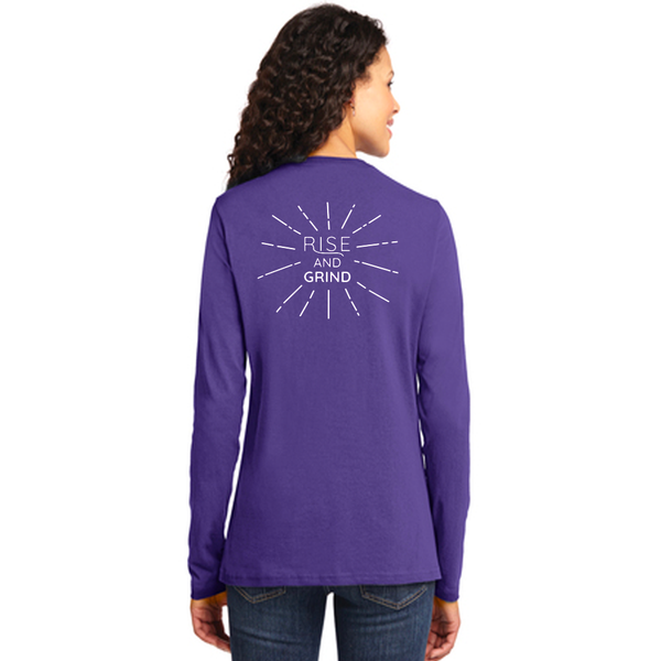 FiA Rise and Grind Port & Company Ladies Long Sleeve Core Cotton Tee Pre-Order