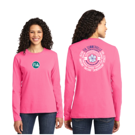 FiA Summerville 2016 Port & Company Ladies Long Sleeve Cotton Tee (Neon Pink) Pre-Order