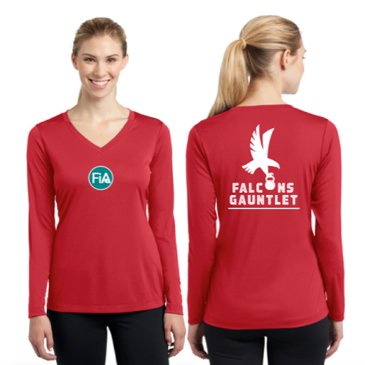 FiA Falcons Gauntlet Sport-Tek Ladies Long Sleeve Competitor V-Neck Tee Pre-Order