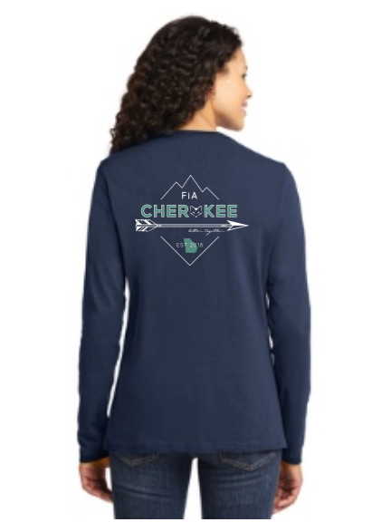 FiA Cherokee Port & Company Ladies Long Sleeve Cotton Tee Pre-Order