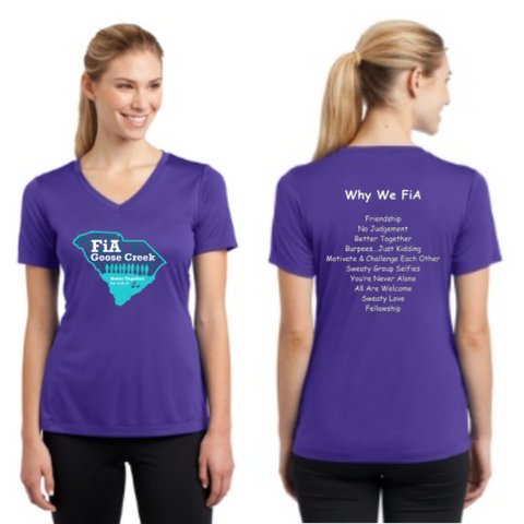 FiA Goose Creek: Why We FiA - Sport-Tek Ladies PosiCharge Competitor V-Neck Tee Pre-Order