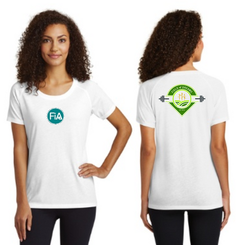 FiA Field of Dreams Sport-Tek Ladies PosiCharge Tri-Blend Wicking Scoop Neck Raglan Tee Pre-Order