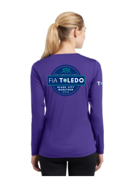 FiA Toledo: The Glass City Marathon Sport-Tek Ladies Long Sleeve Competitor V-Neck Tee Pre-Order
