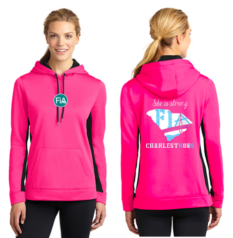 FiA Charleston Sport-Tek Ladies Sport-Wick Fleece Colorblock Hooded Pullover Pre-Order