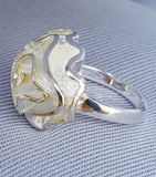 "SILVER ROSE RING. ""Of all flowers me thinks a rose is best."" (The Two Noble Kinsmen 2-2)"