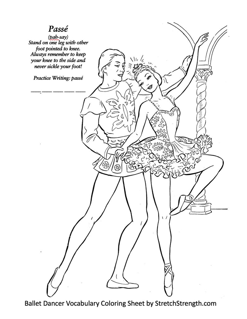 Free Ballet Dancer Vocabulary Coloring Sheet by StretchStrength.com Passé