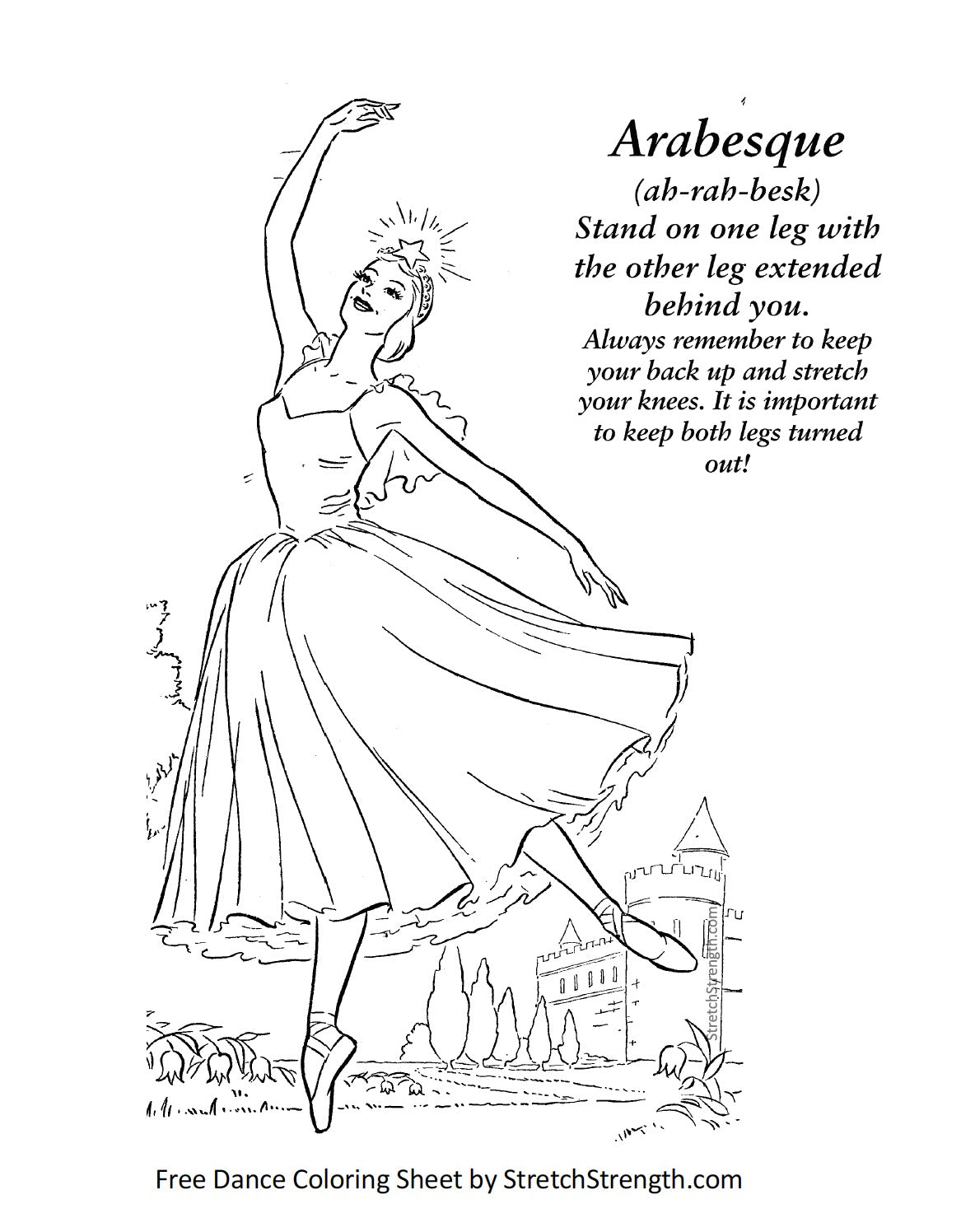 Free Ballet Dancer Vocabulary Coloring Sheet - Arabesque ...
