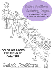 Five Ballet Positions Coloring Pages for Boys and Girls