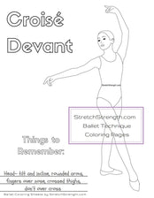Ballet Technique - Croisé Devant Coloring Page - StretchStrength.com