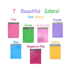 "12""x15"" Multi Color Self Seal Poly Mailers bags Pink, Blue, Purple, Yellow and Green - Wrappingmeup"