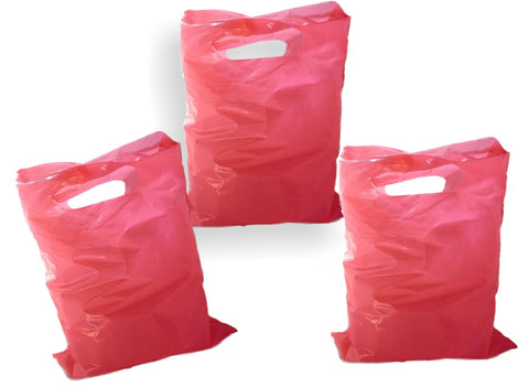 "Hot Pink Plastic Merchandise Bags size 15"" x 18""x 4"" Colored Party Gift Bags With Handles"