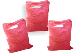 "Hot Pink Plastic Merchandise Bags size 15"" x 18""x 4"" Colored Party Gift Bags With Handles - Wrappingmeup"