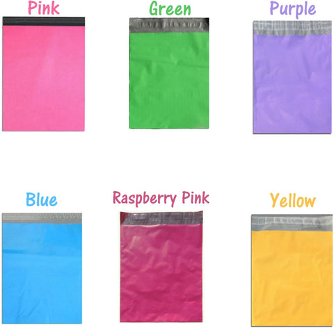 7.5 x 10.5 Raspberry Pink, Purple, Pink, Blue, Green, Yellow Flat Poly Mailers