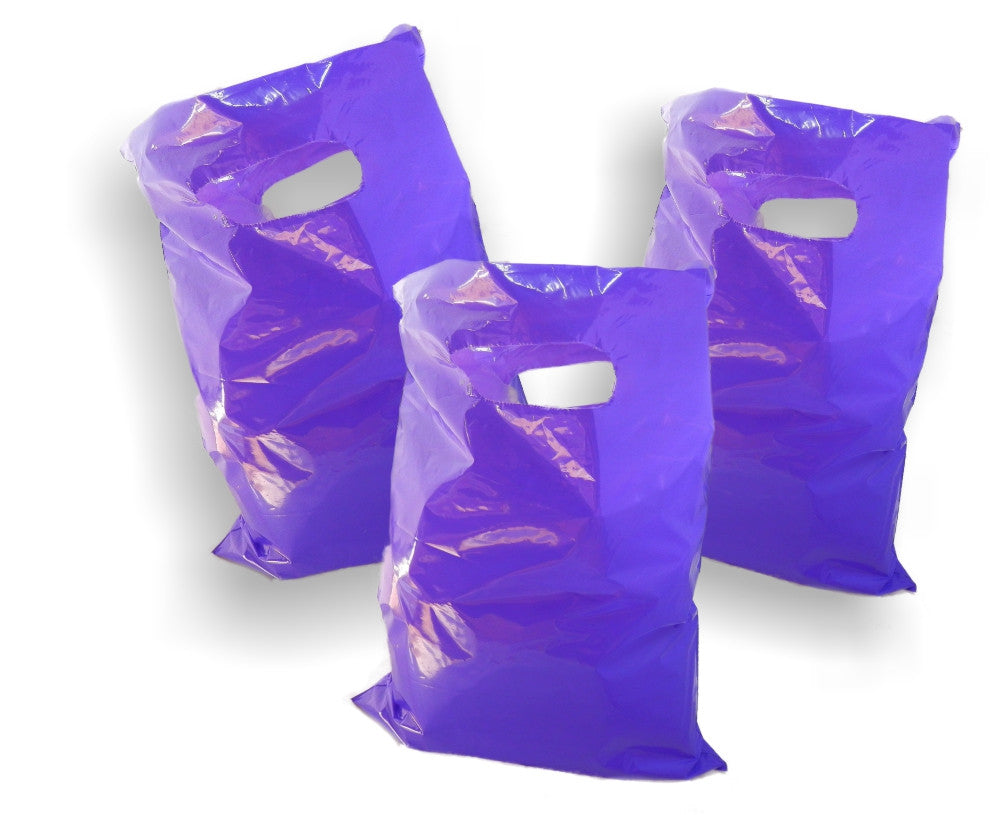 "Purple Plastic Merchandise Bags size 15"" x 18"" x 4"" Colored Party Gift Bags With Handles - Wrappingmeup"