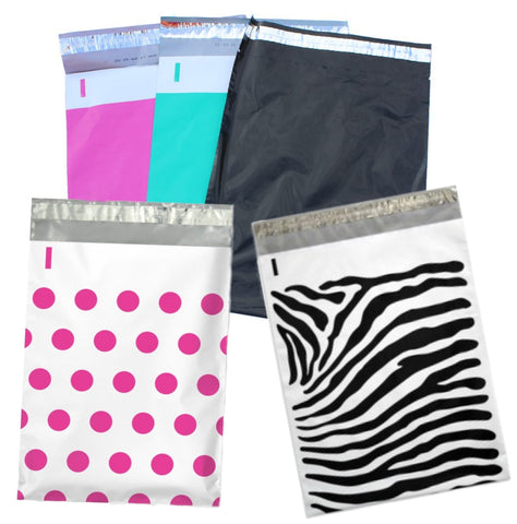 100 9x12 inch Hot Pink, Teal, Polka Dot, Zebra and Night Black Flat Poly Mailers