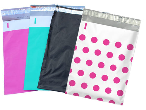 "14.5"" x 19"" Hot Pink, Teal, Polka Dot, and Night Black Flat Poly Shipping Mailers"