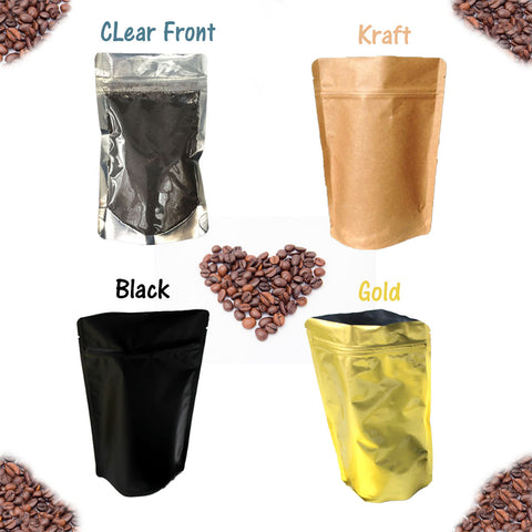 4 oz Stand Up Food Safe Resealable Foil Lined Pouch Bags, Kraft, Gold, Black, Clear Front