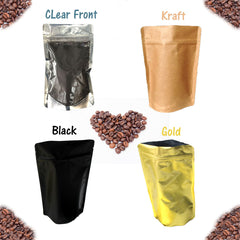 4 oz Stand Up Food Safe Resealable Foil Lined Pouch Bags, Kraft, Gold, Black, Clear Front - Wrappingmeup