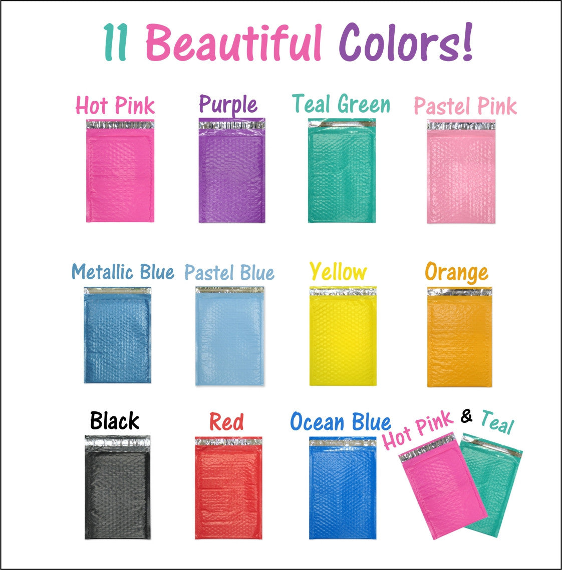 "Beautiful 4"" x 8"" Poly Bubble Mailers, #000 Colored Padded Self Adhesive Envelopes"