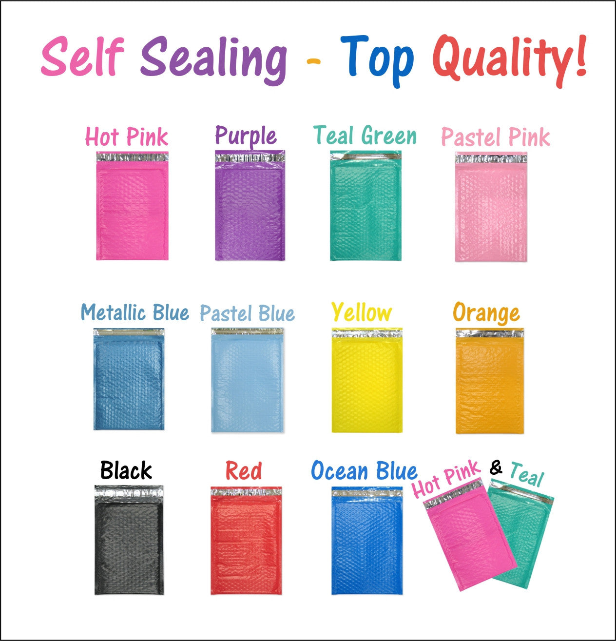 "Beautiful Colored 8"" x 12"" Poly Bubble Mailers, #2 Padded Self Adhesive Mailing Envelopes - Wrappingmeup"