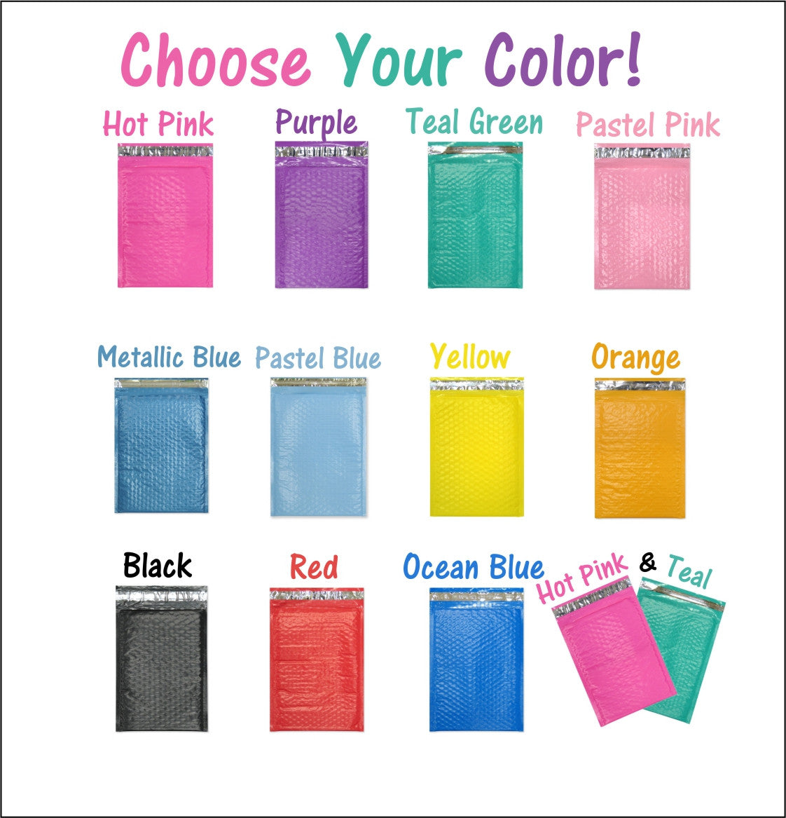 "Beautiful Colored 6"" x 10"" Poly Bubble Mailers, #0 Padded Self Adhesive Envelopes - Wrappingmeup"